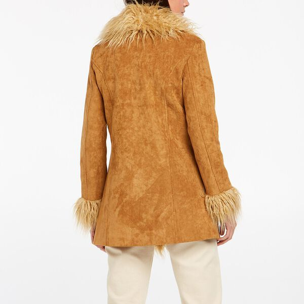 70's Shag Faux Leather Coat, Toffee, hi-res