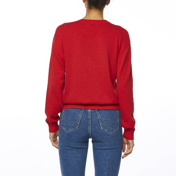 RIVA PANEL SWEATER RED, Red, hi-res