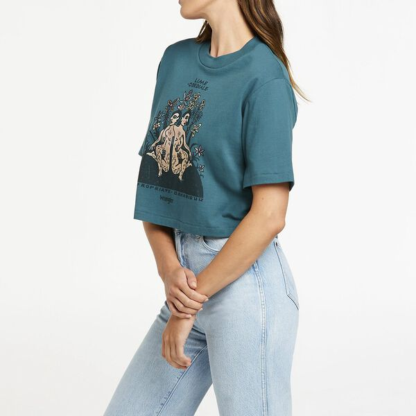 Inappropriate Crop Tee, Washed Teal, hi-res