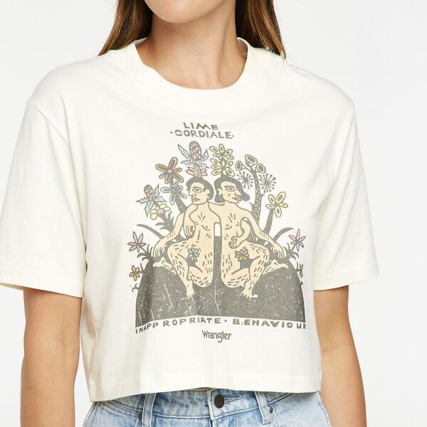 Inappropriate Crop Tee, Ecru White, hi-res