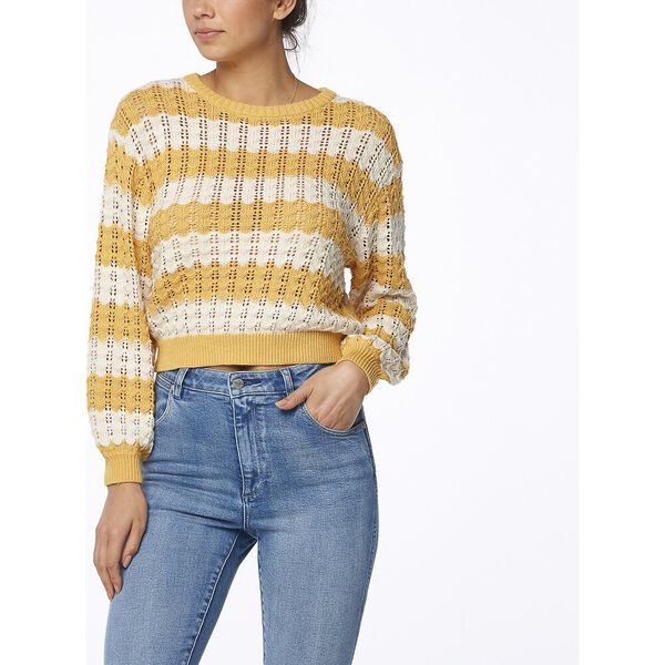 Sunshine Stripe Knit Gold White