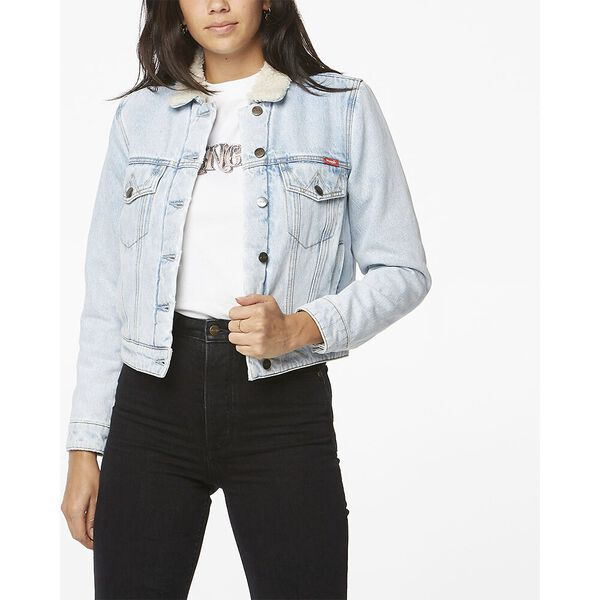 Denim Sherpa Jacket Silver Blues