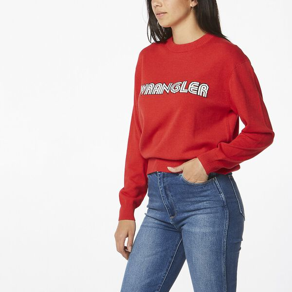 RETROGRAPHIC SWEATER RED, Red, hi-res