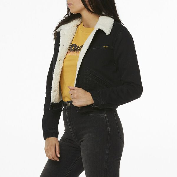 Blondie Sherpa Denim Jacket, Highway Black, hi-res